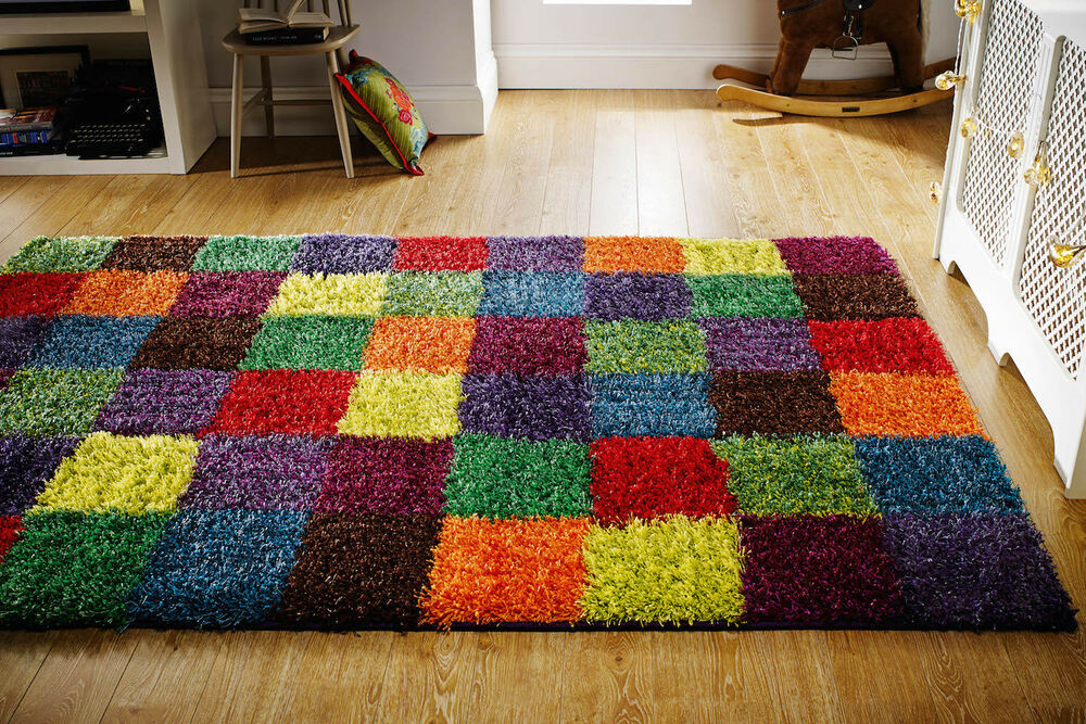 Multi Colour Funky Squares Modern Thick Shaggy Kids Rug
