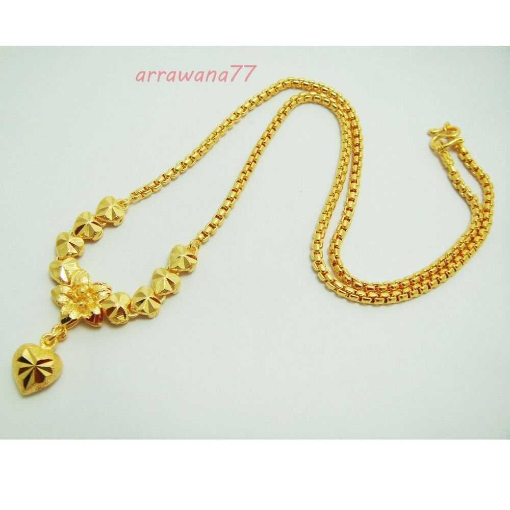 Heart Flower 22K 23K 24K THAI BAHT YELLOW GP GOLD NECKLACE Jewelry 1