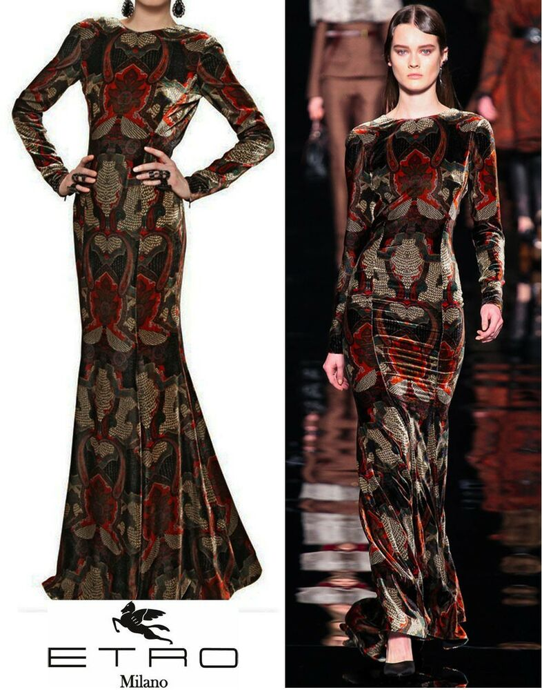 New 6 242 Etro Runway Velvet Printed Dress Gown 42 8 Ebay