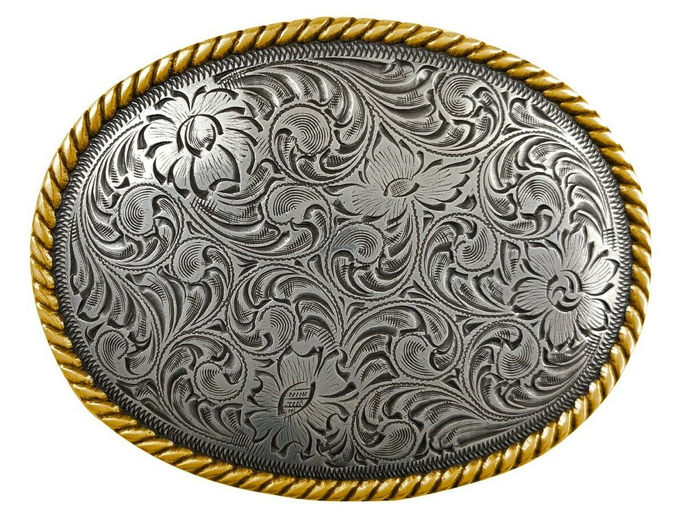 WESTERN COWBOY COWGIRL OVAL ROPE GOLD AND SILVER PLAYED ...