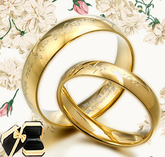 yellow gold wedding rings sets for his and her his amp yellow gold wedding titanium ring set 058ee ebay 1519