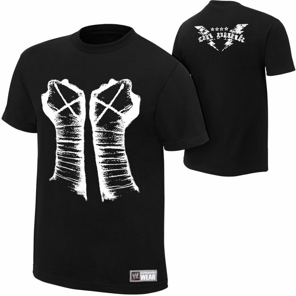 wwe authentic cm punk fists black t shirt brand new ebay. Black Bedroom Furniture Sets. Home Design Ideas