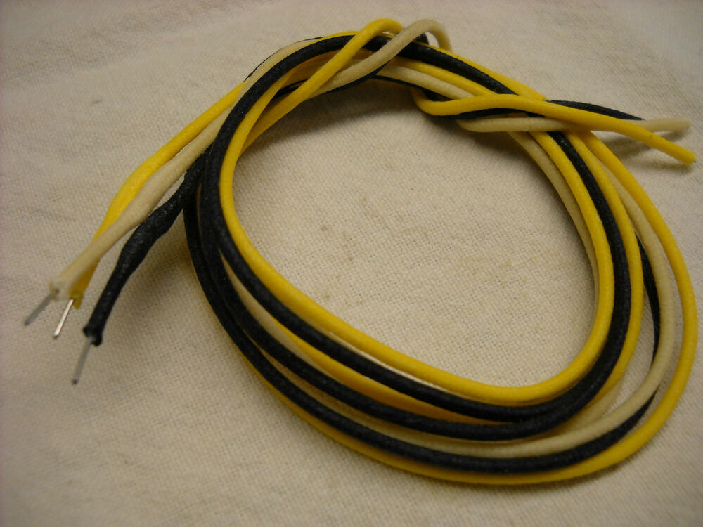 6 39 of solid 22 awg cloth covered wire yellow black white for guitar amps ebay. Black Bedroom Furniture Sets. Home Design Ideas