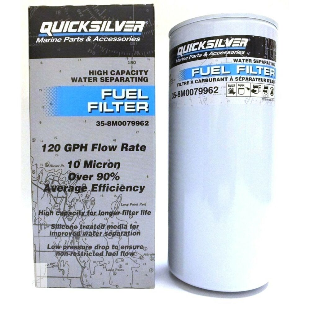 Mercruiser Fuel Filter Water Separating Element 120 Gph 10 Micron Text Flow Quicksilver Ebay