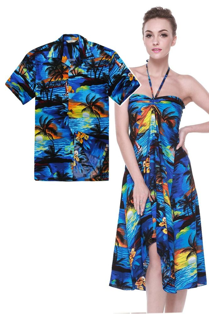 Couple matching shirt dress set hawaiian cruise valentine for Blue dress shirt outfit