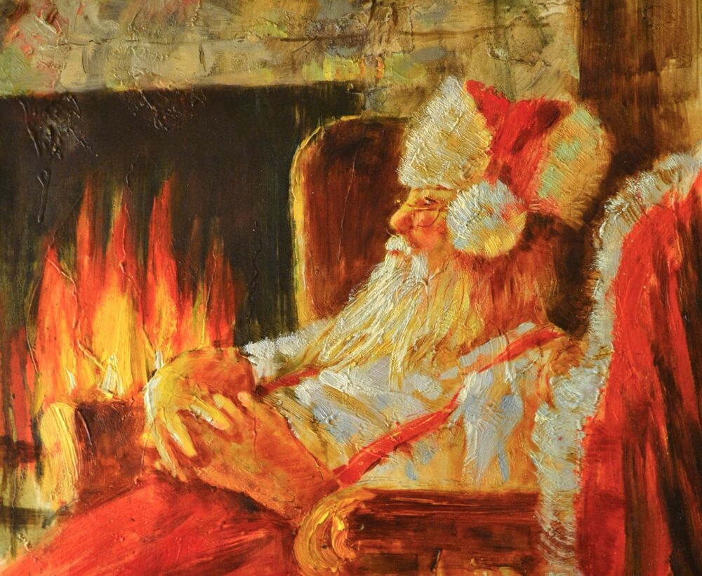 oil painting on stretched canvas 20 x 24 santa by the