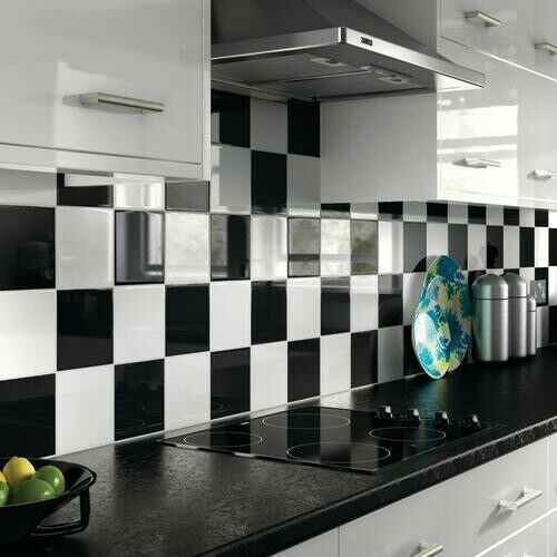 black and white kitchen wall tiles 20 x bathroom kitchen vinyl tile stickers covers self 9281