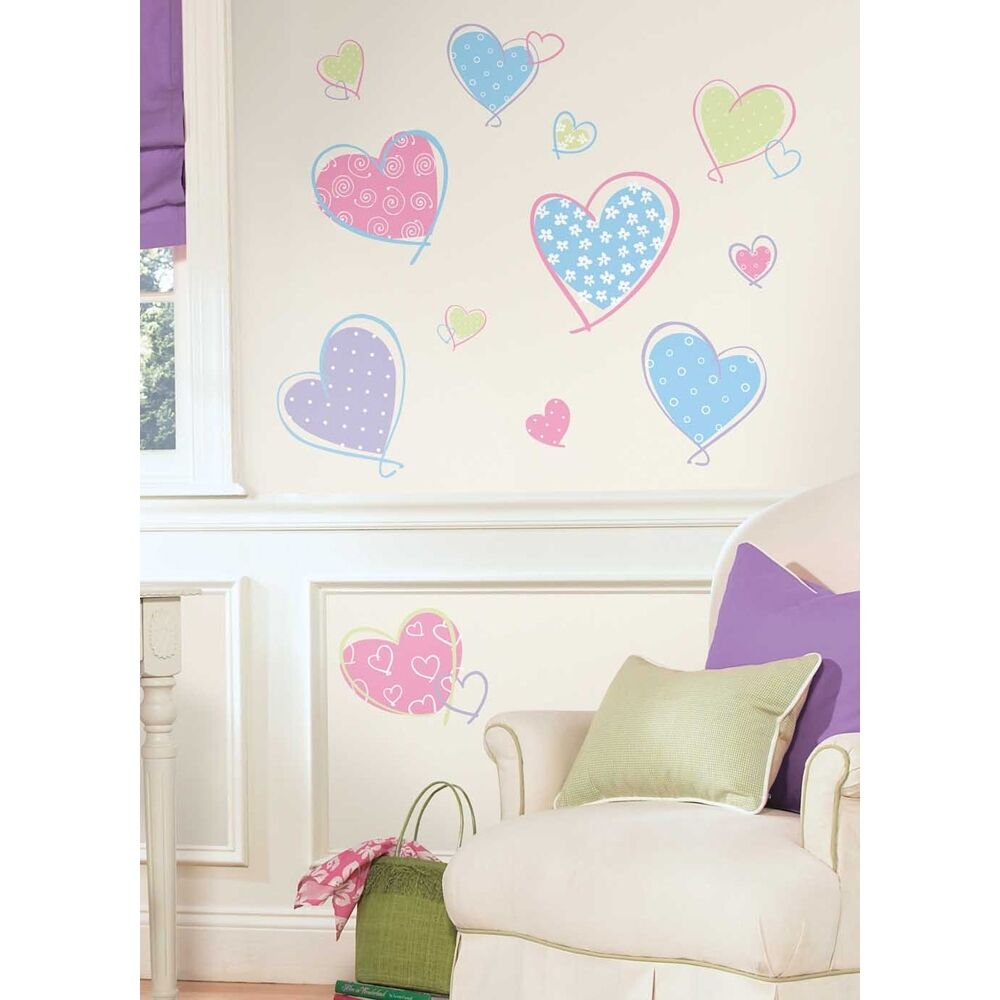 16 new pink purple blue hearts wall decals girls bedroom Wall stickers for bedrooms