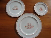 Spode Trade Winds Red 3 piece placesetting plates ships sail porcelain