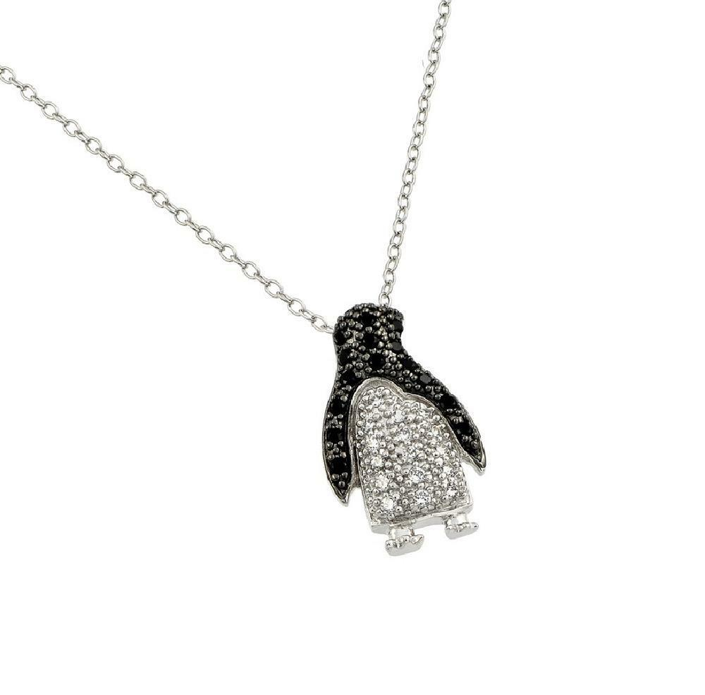 Sterling Silver Necklace W Black Amp White Cz Stones