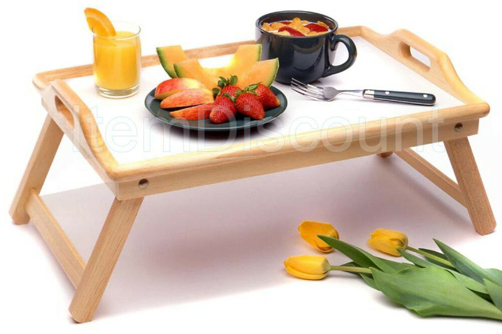 Wood breakfast bed food serving hospital tray handles for Cuisine table retractable