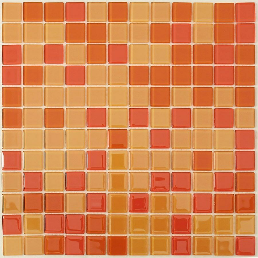 Orange glass tile backsplash
