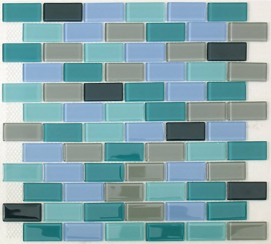 Sea green mix subway glass mosaic tile for bathroom backsplash 22 sq ft box ebay for Glass mosaic tile backsplash bathroom