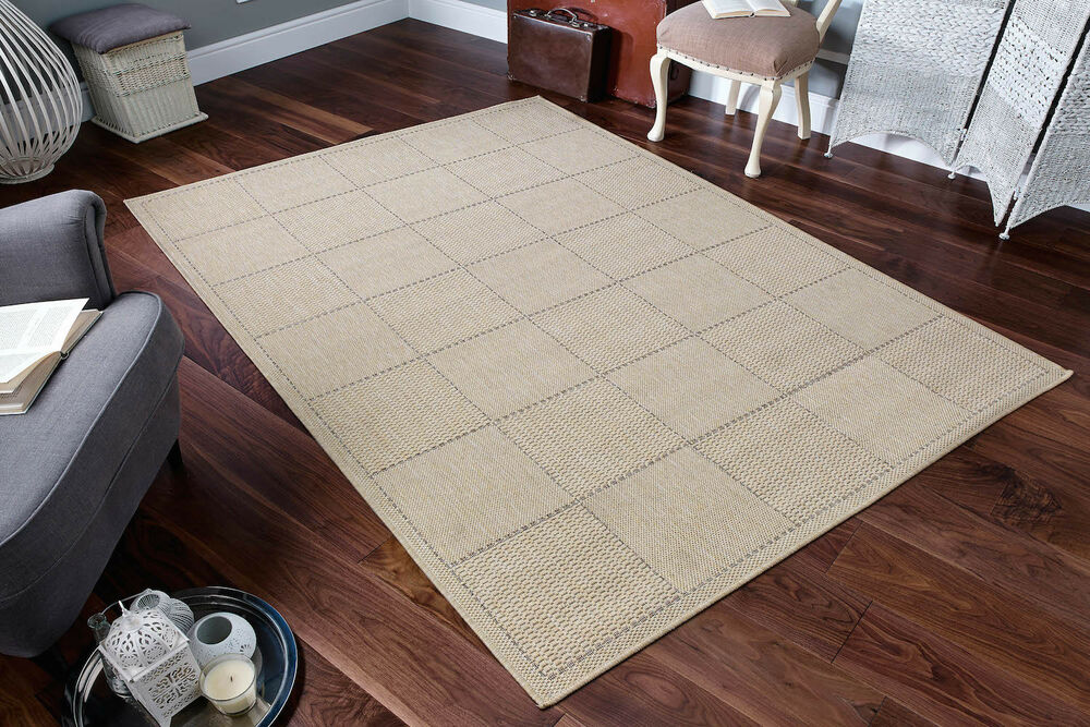 Kitchen utility runner rug beige sisal like checked for Small rugs for kitchen