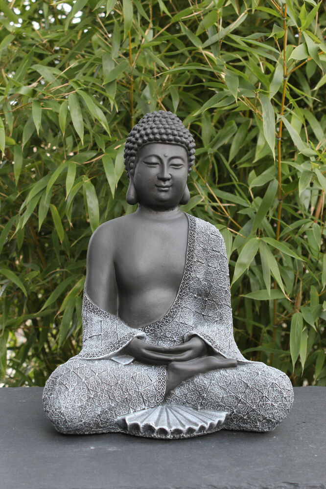 gartenfigur buddha sitzend stein figur garten deko figur statue frostsicher ebay. Black Bedroom Furniture Sets. Home Design Ideas