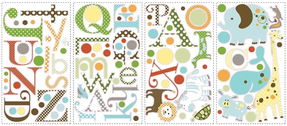 107 new baby nursery animal alphabet wall decals letters for Alphabet wall decoration
