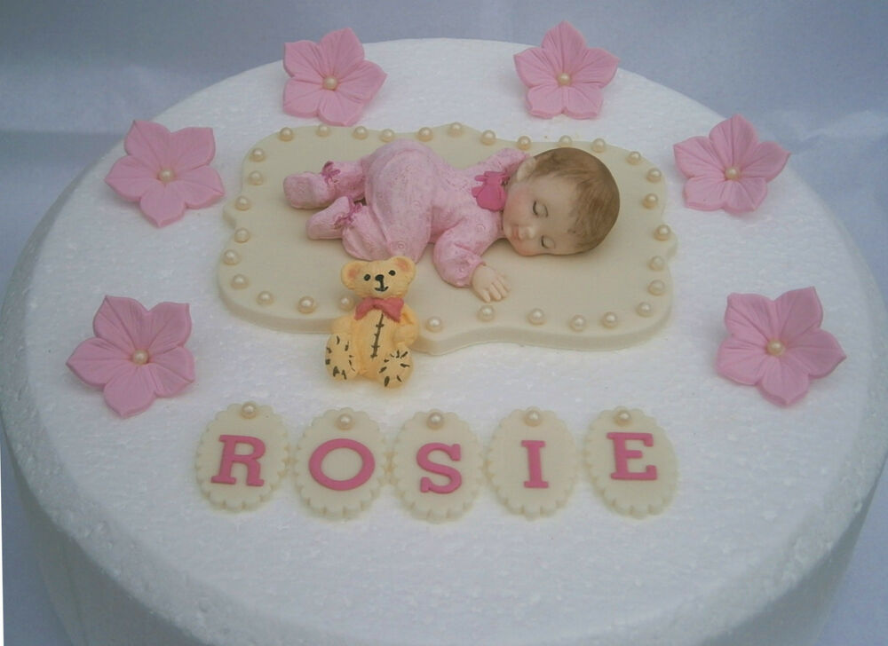 Edible personalised large baby christening cake topper for Baby christening decoration