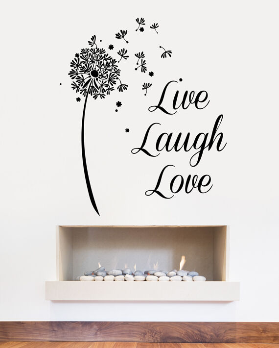 live love laugh dandelion clock flower wall sticker - art decal