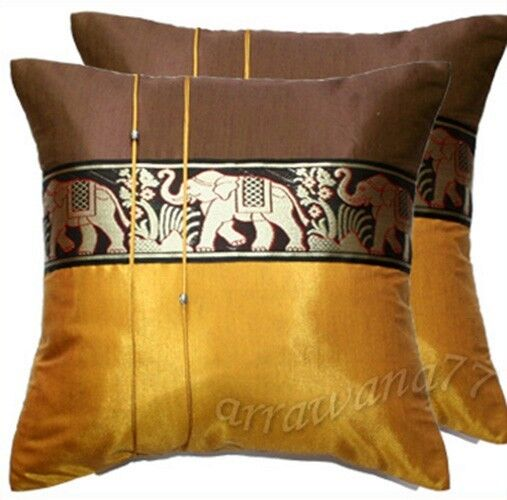 Silk Decorative Pillow Covers : 2 Thai Silk Elephant Decorative Pillow Cover Cushion Cases Sofa Gold-Brown eBay