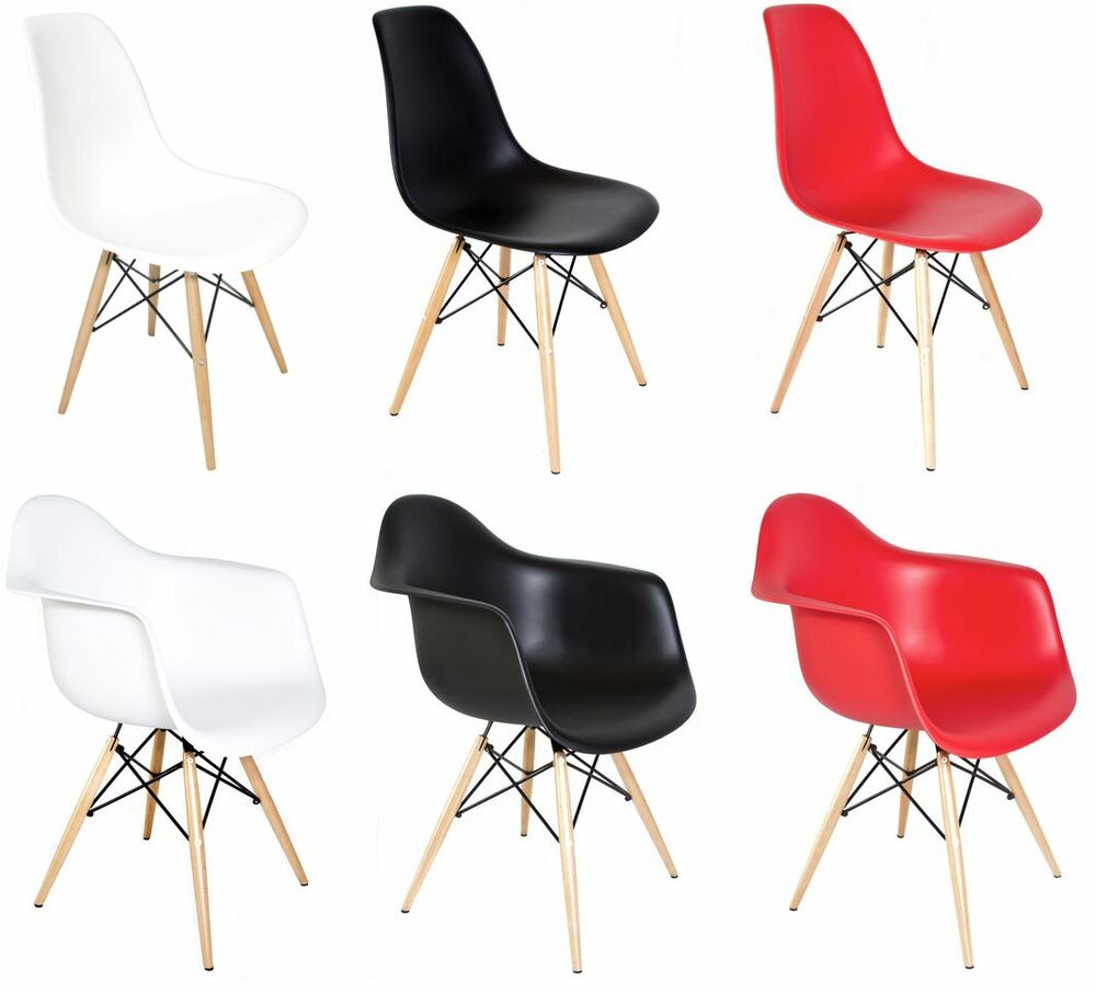 Set of 2 eiffel molded plastic side dining chairs eames for Eames plastic chair replica