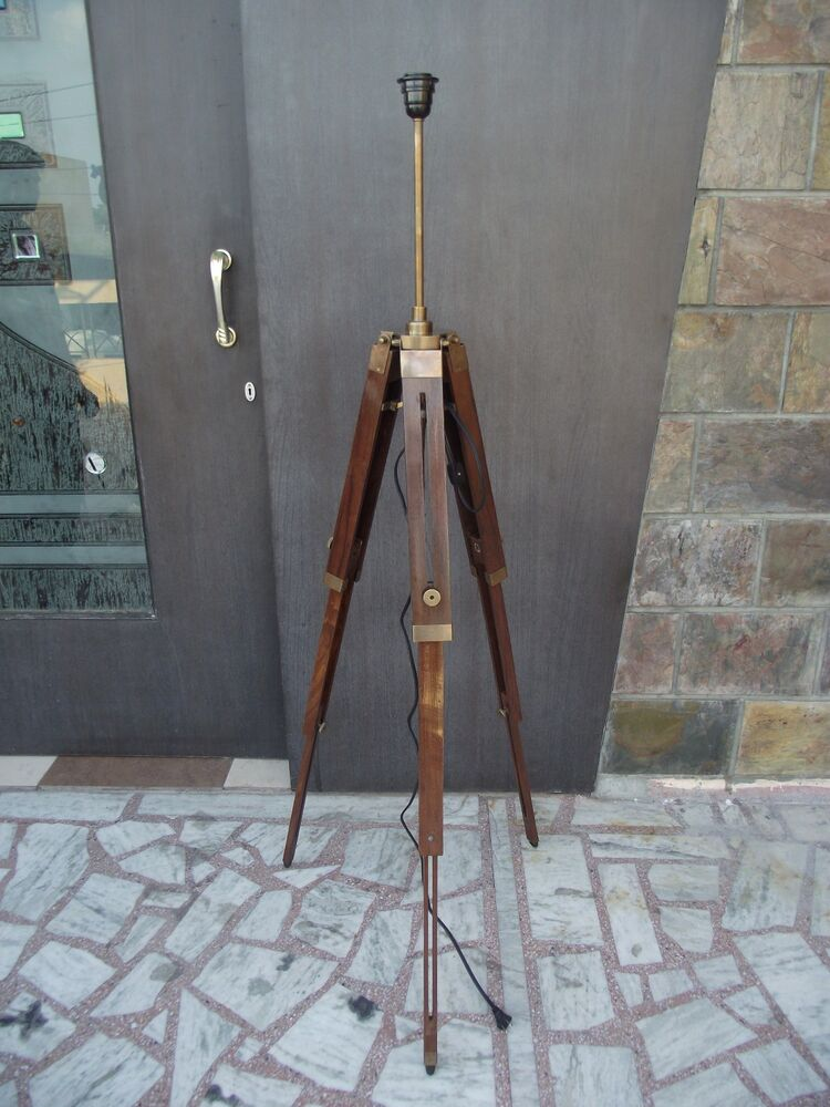 Wooden Lamp Stand Designs : Antique royal nautical tripod floor lamp wooden