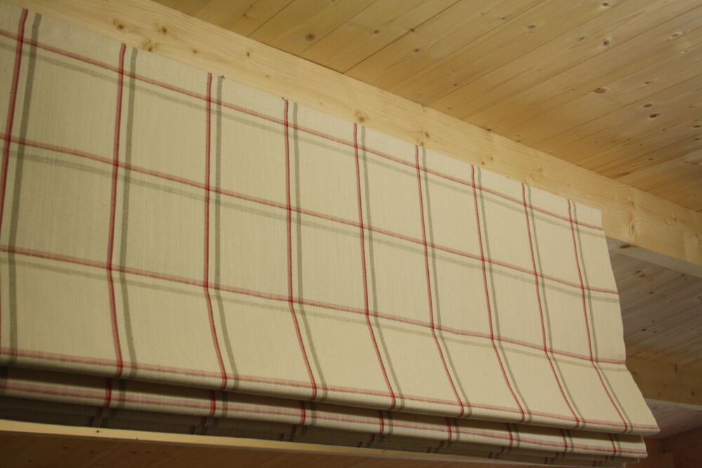 Roman Blind Laura Ashley Corby Check Cranberry Fabric
