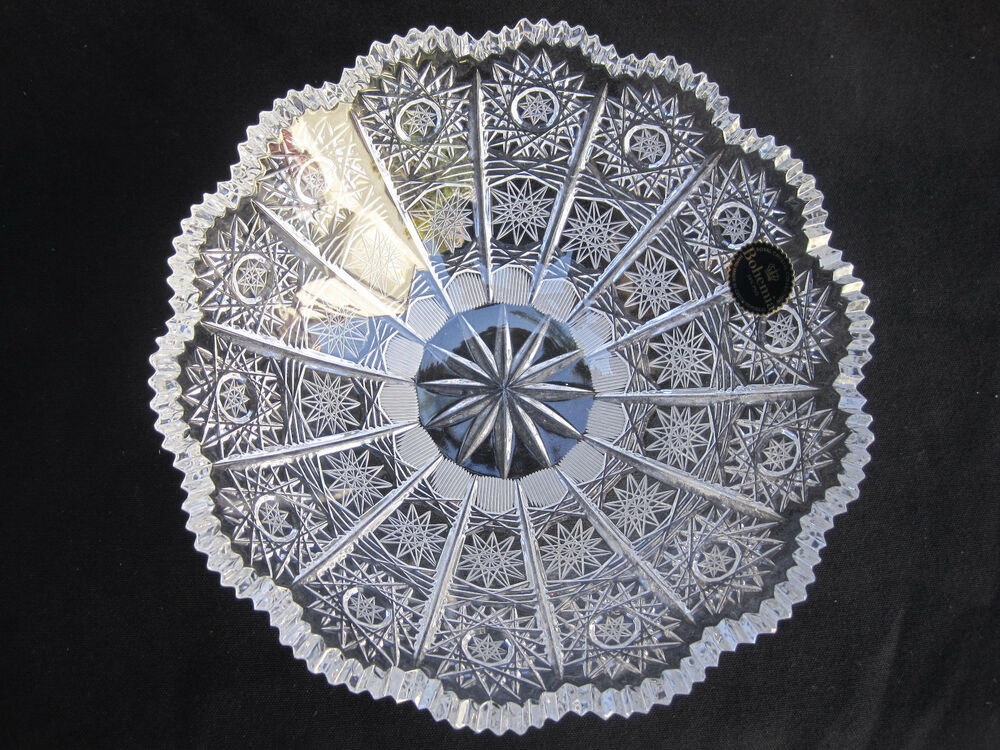 Vintage Bohemia Queen Lace Hand Cut 24 Lead Crystal Bowl