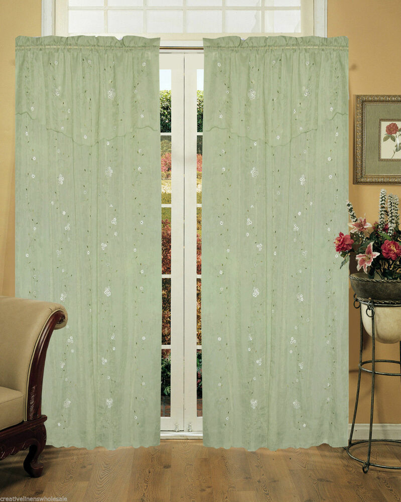 Daisy Embroidery Window Curtain Panel 2 Pieces Mint Green Creative ...