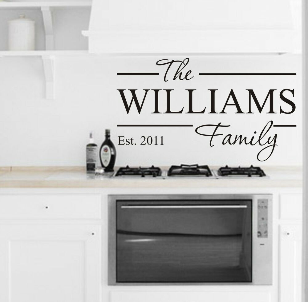 FAMILY NAME KITCHEN DINING LIVING ROOM WALL ART VINYL STICKER HOME DIY HOME