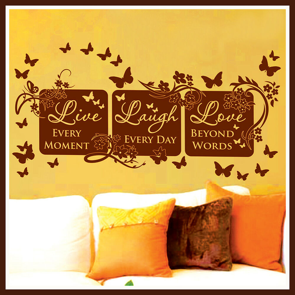 vinyl wall decor mural quote decal live laugh love 64 ebay