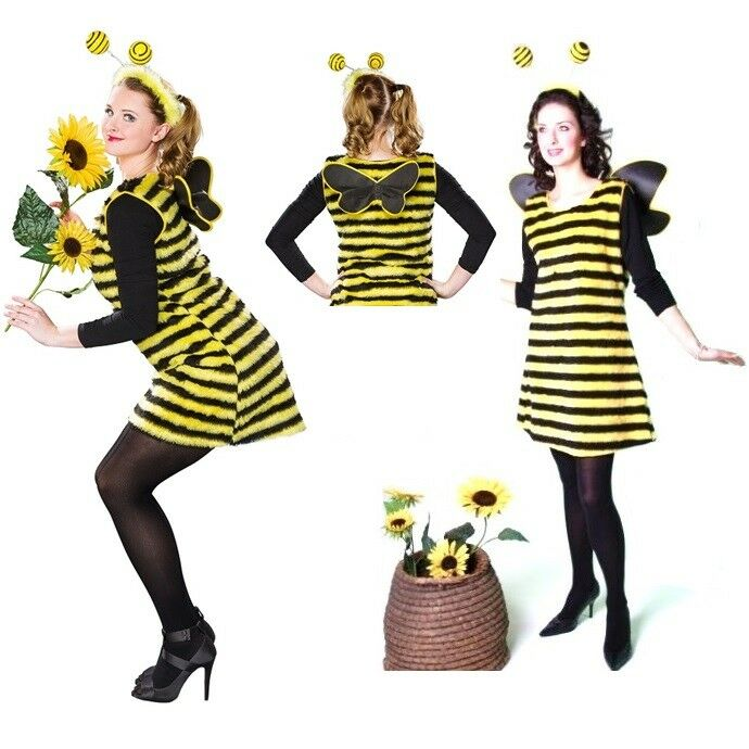 bienenkost m flotte biene bienchen kost m damen tier kleid fasching karneval neu ebay. Black Bedroom Furniture Sets. Home Design Ideas