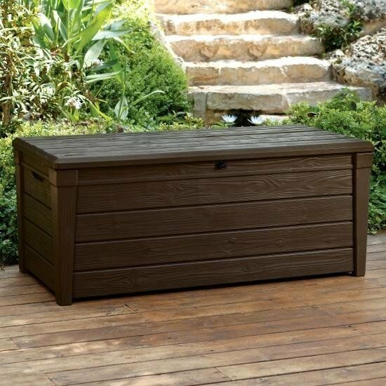 Outdoor Patio Furniture Storage: Keter Saxon Brightwood XL Size 454L Waterproof Lockabl