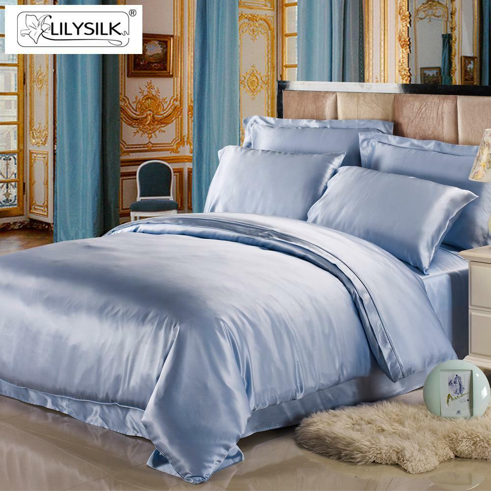 silk duvet cover 100 mulberry pure silk light blue 19momme twin full queen king ebay. Black Bedroom Furniture Sets. Home Design Ideas
