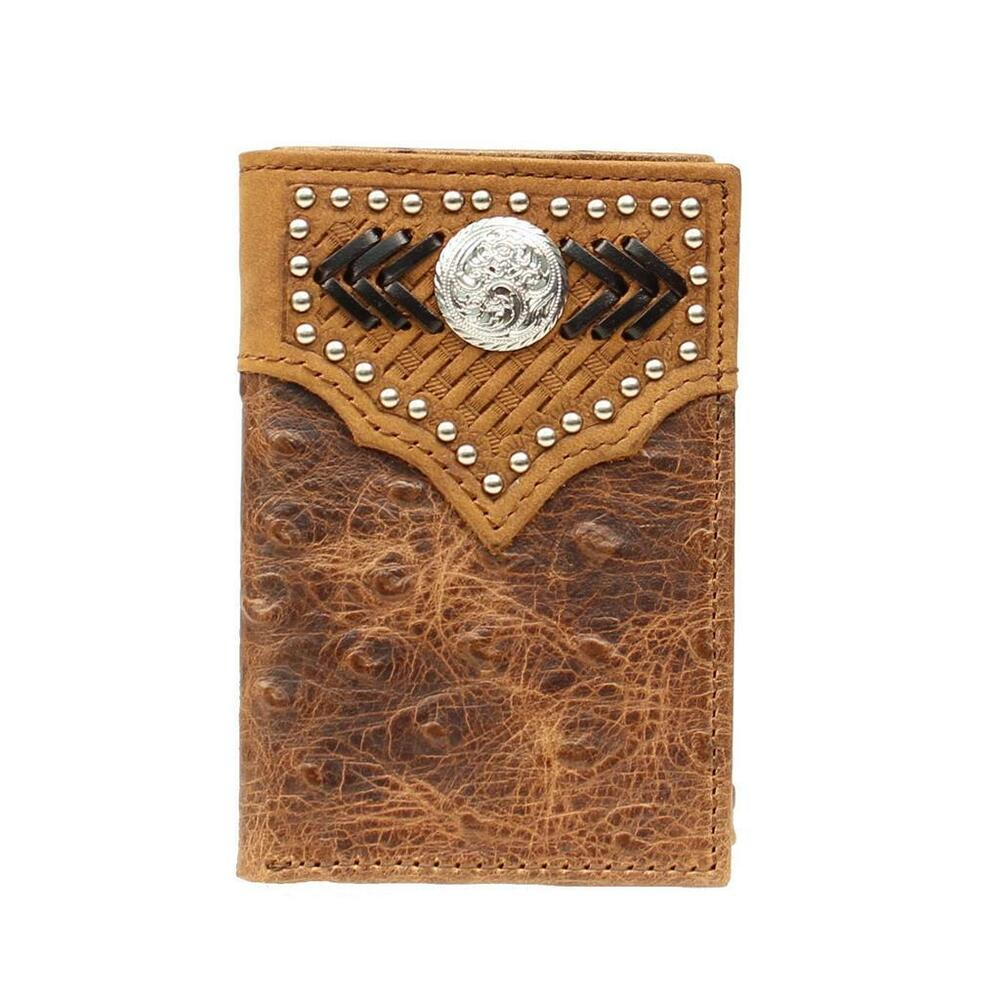 Details about Nocona Western Mens Wallet Trifold Leather Ostrich Concho  Saddle N5450644 6d16ae36c9611