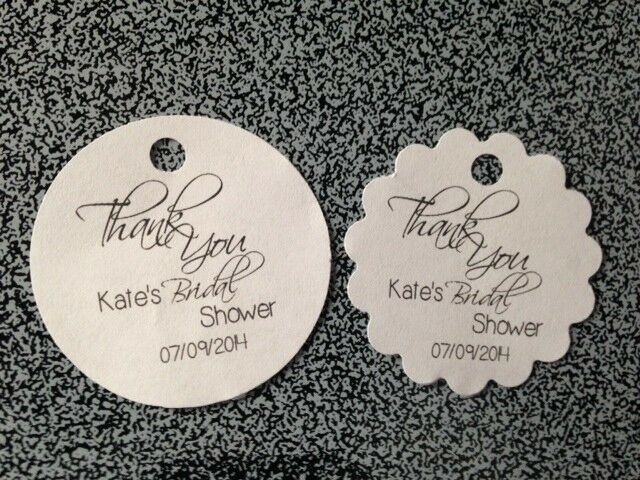 Beach Pail Party Favors Saying Thank You For Coming: PERSONALIZED Round Wedding Bridal Shower Thank You Favor
