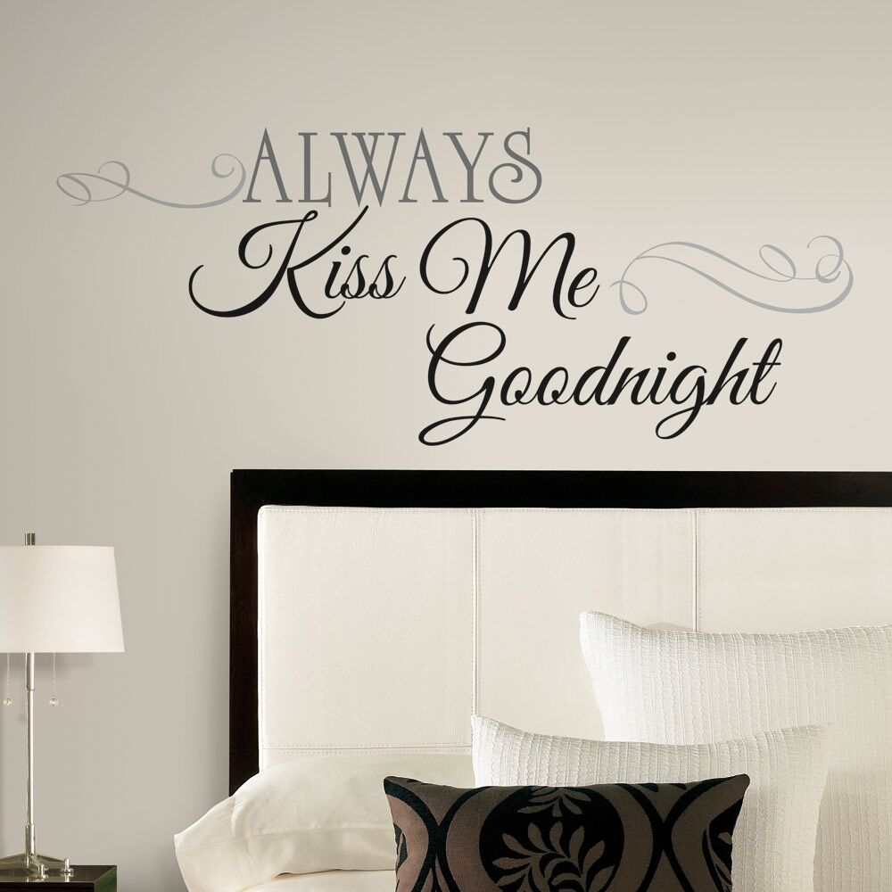 new large always kiss me goodnight wall decals bedroom stickers deco home decor ebay. Black Bedroom Furniture Sets. Home Design Ideas