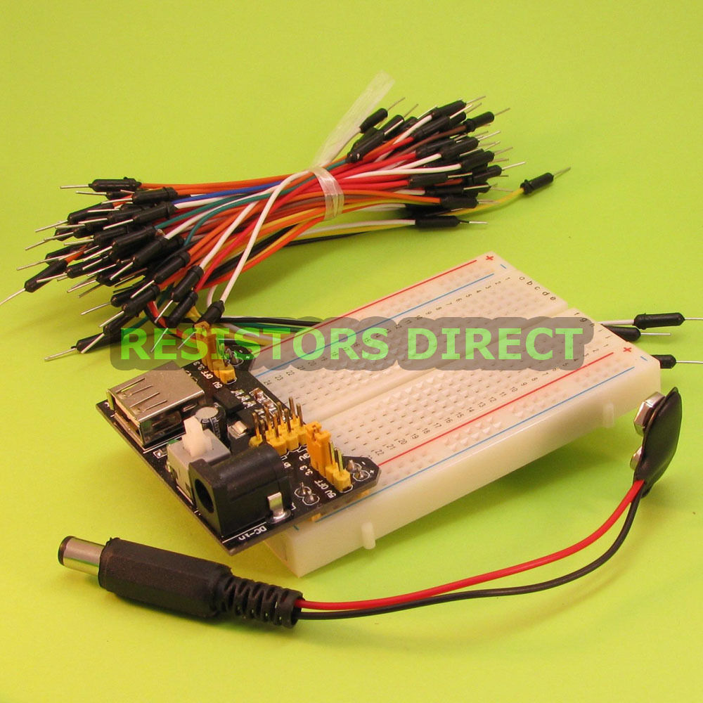 Point breadboard jumper wire power supply prototyping