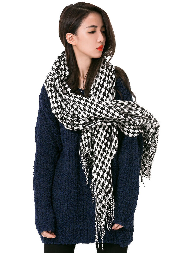 softer than 2 tone houndstooth fringe scarf
