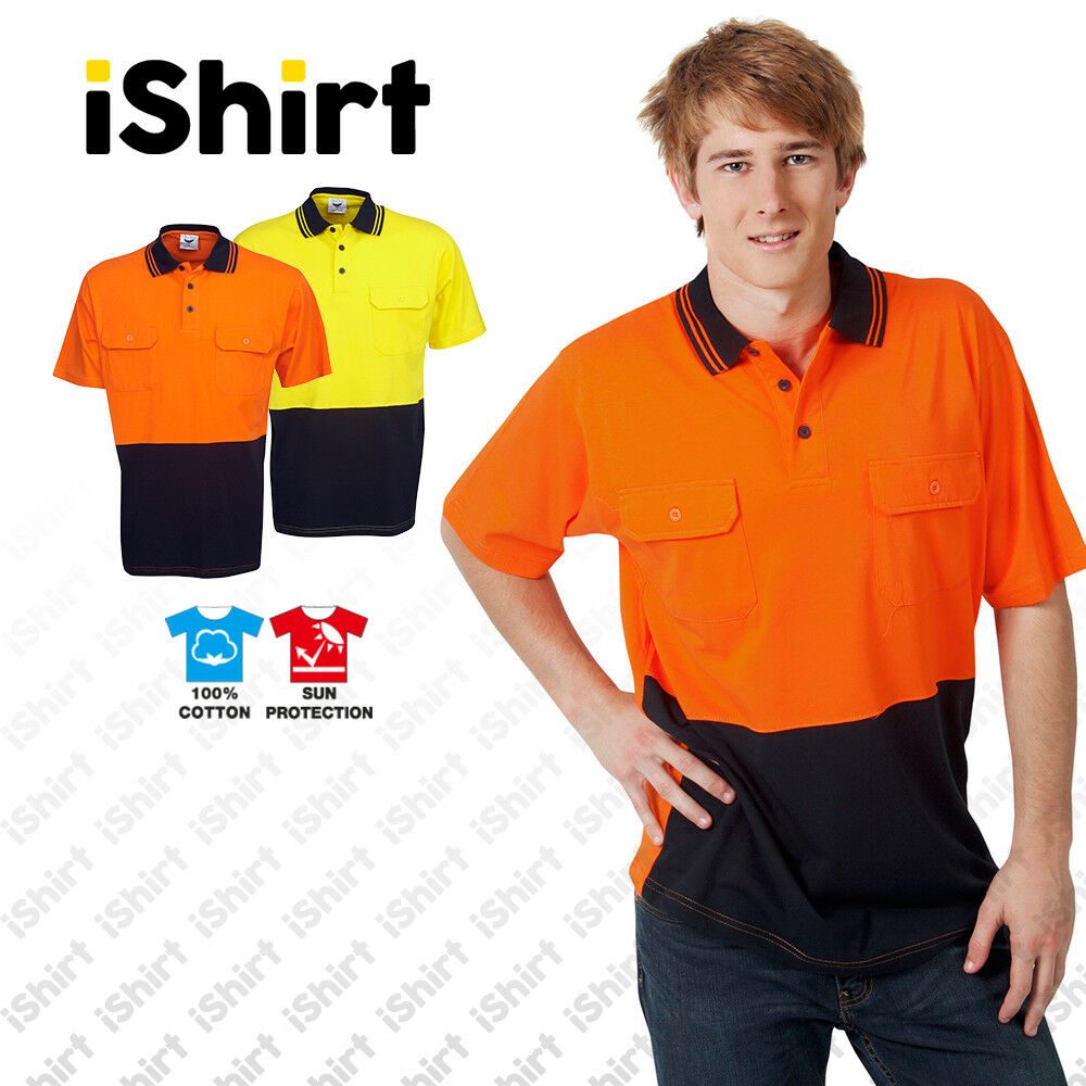Hi Vis Polo Shirt 100 Cotton Work Shirt Two Pockets Safety Workwear