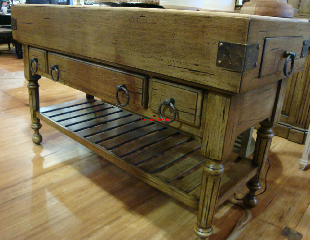 Distressed large kitchen counter island double butcher for Antique kitchen island