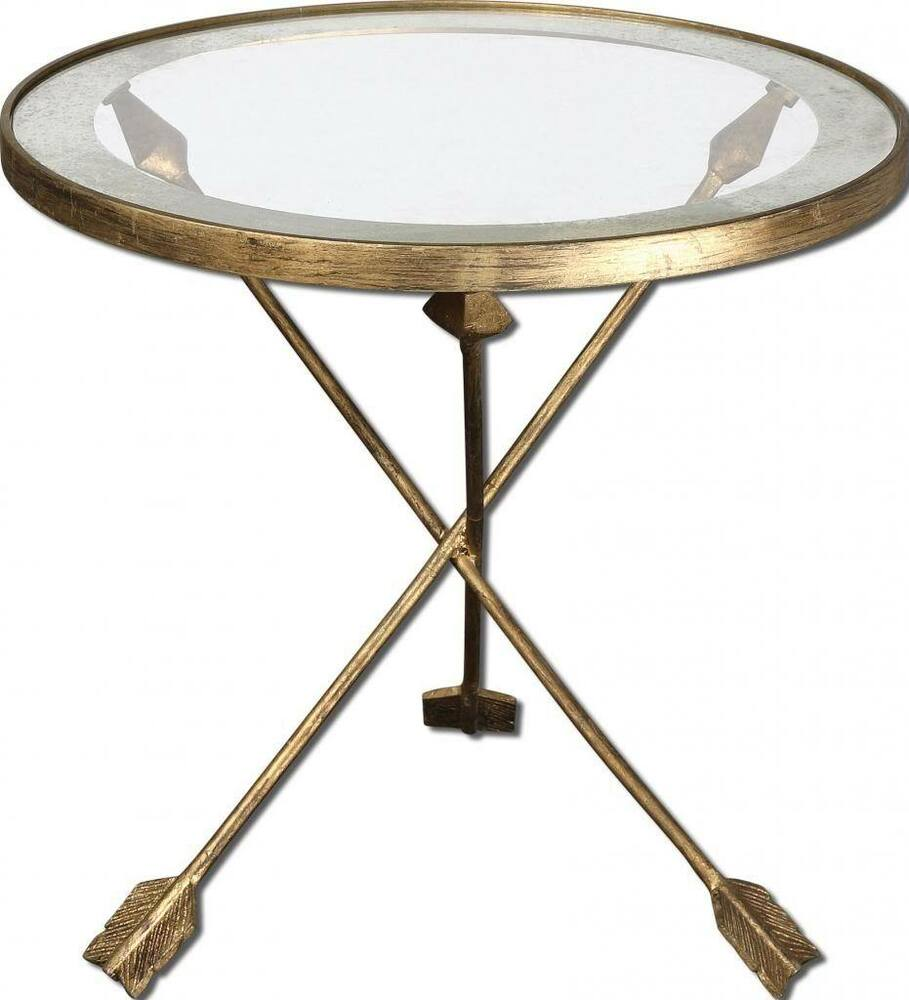 Round iron glass end table arrow tripod gold mirror neiman for Accent end tables