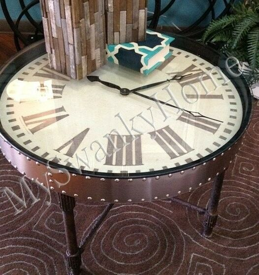 Retro industrial metal clock table iron antique aluminum for Clock coffee table round