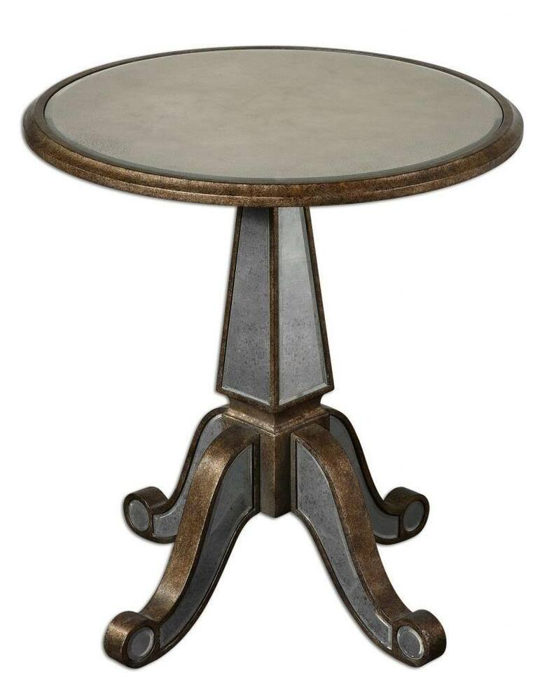Luxe Antiqued Mirrored Glass Wood Pedestal Table Hall
