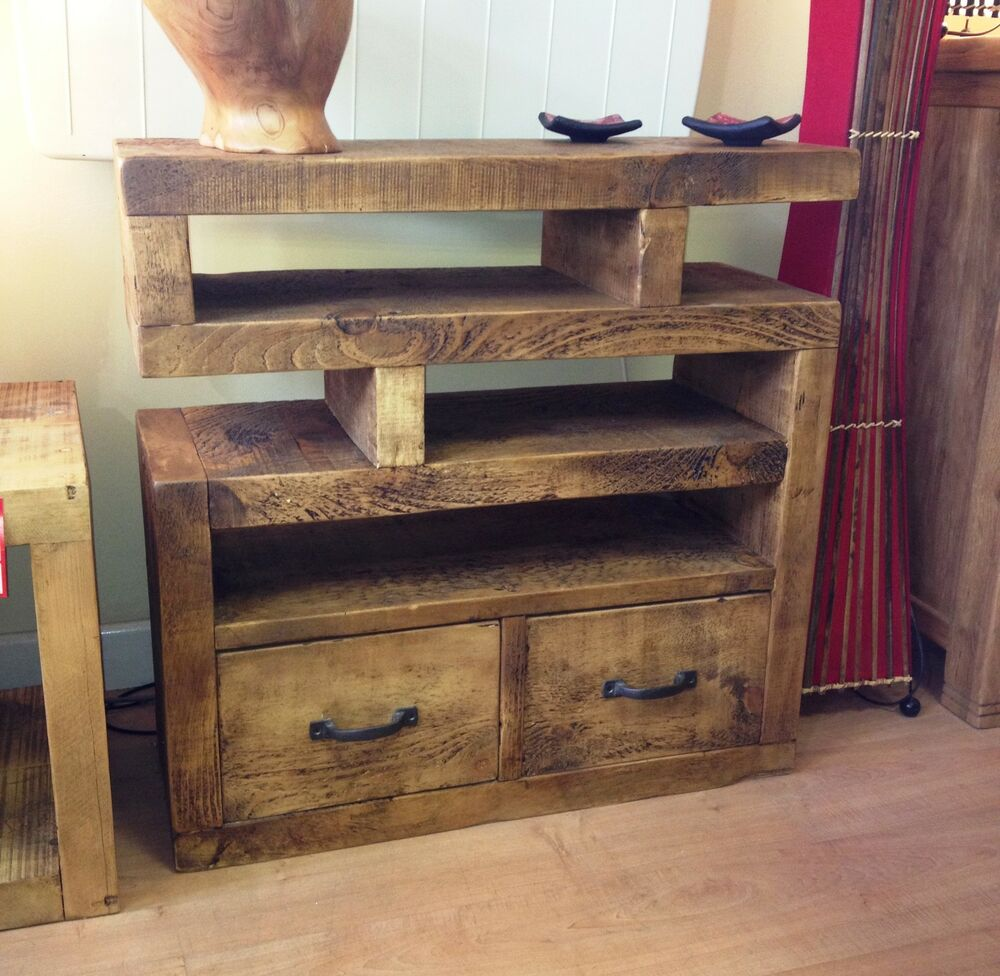 Tv Stand Designs Wooden : Chunky funky solid wood tv unit stand cabinet rustic plank