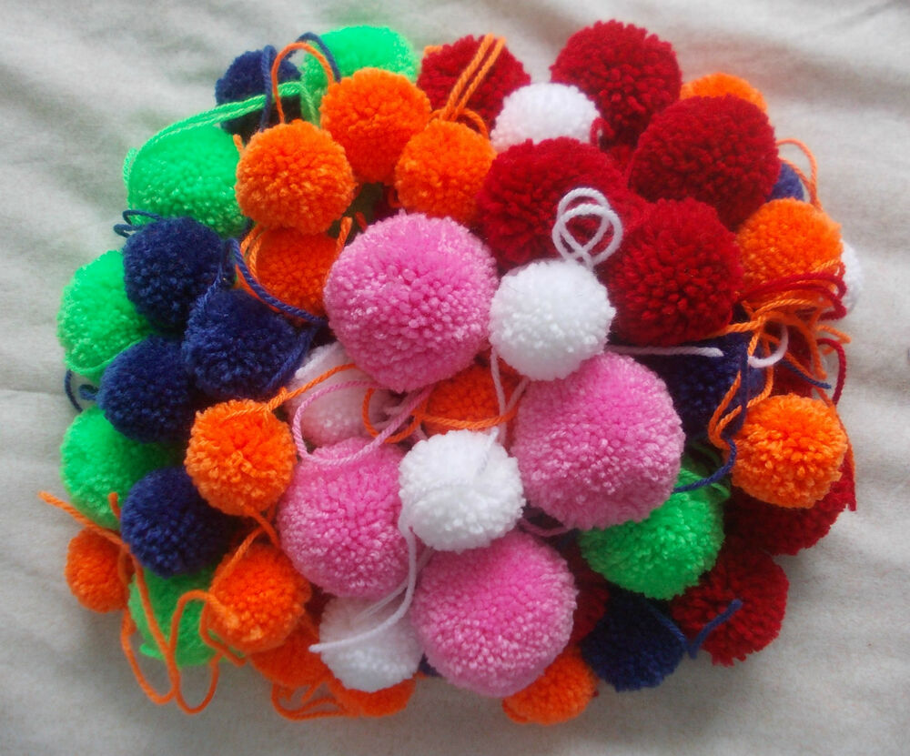Pom Poms Wool Hand Crafted Fluff Balls Made To Order 40mm