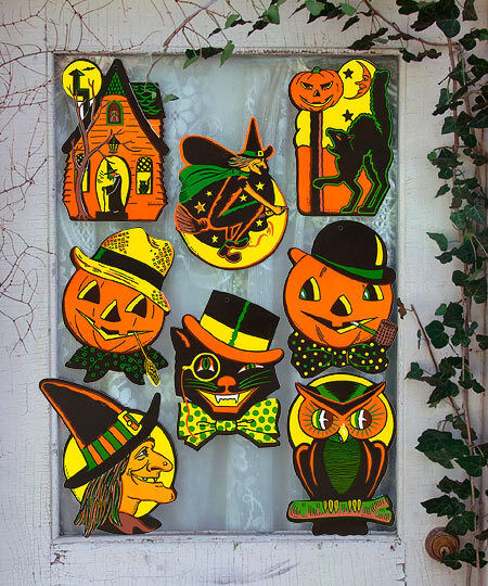 8 vintage retro styled beistle repro halloween decorations Vintage halloween decorations uk