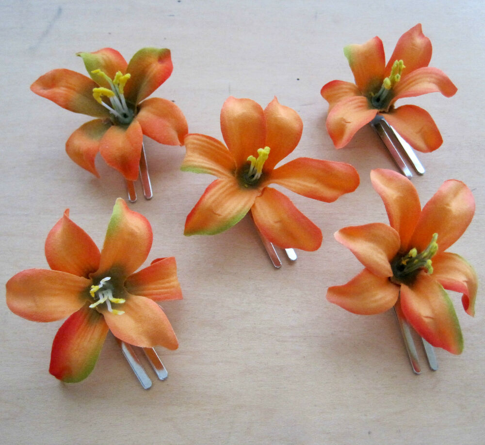5 Piece Lot Small 2 Mango Orange Lily Silk Flower Hair Clipsweding