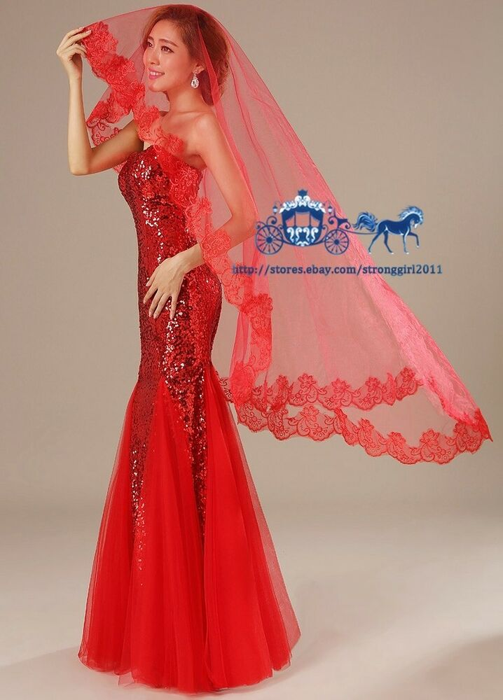 Long Red Wedding Veils