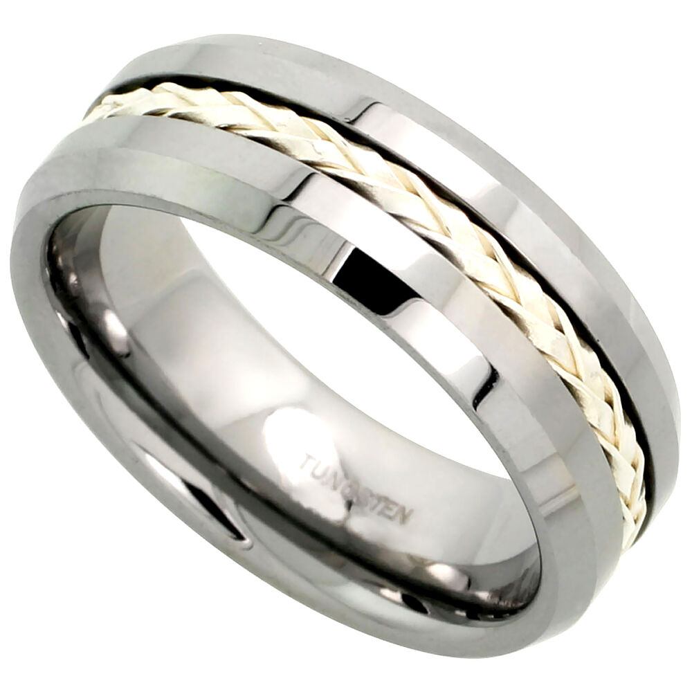 8mm tungsten flat wedding band ring w sterling silver rope inlay beveled edges ebay. Black Bedroom Furniture Sets. Home Design Ideas