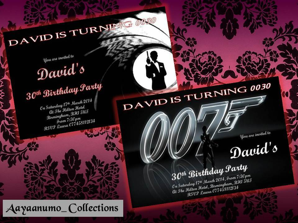 10 x Personalised James Bond 007 Birthday Party Invitations and – 007 Party Invitations